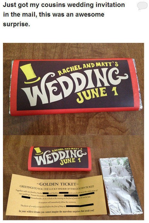 Willy Wonka golden ticket invitations chocolate - 7116962304