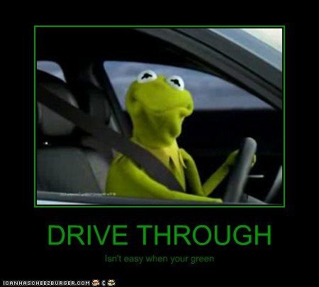 green,kermit the frog,drive through,cars