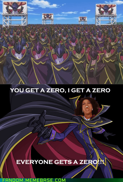 you get an x,anime,code geass,zero,oprah