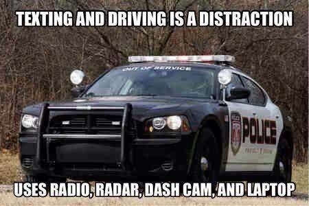 cops,distraction,double standard,texting and driving