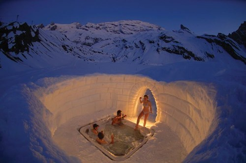 relaxing snow hot tub winter - 7119612416