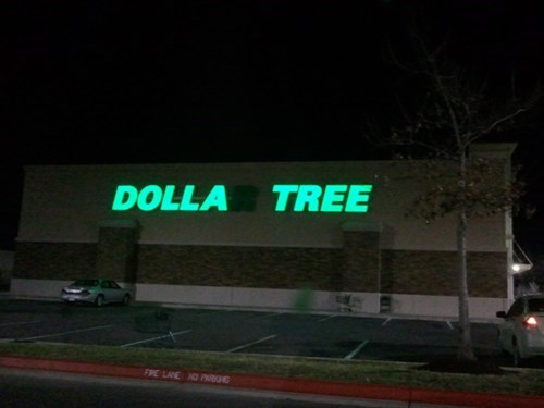 neon sign,accident,dollar store