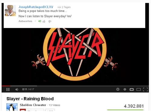 the pope,youtube comments,slayer