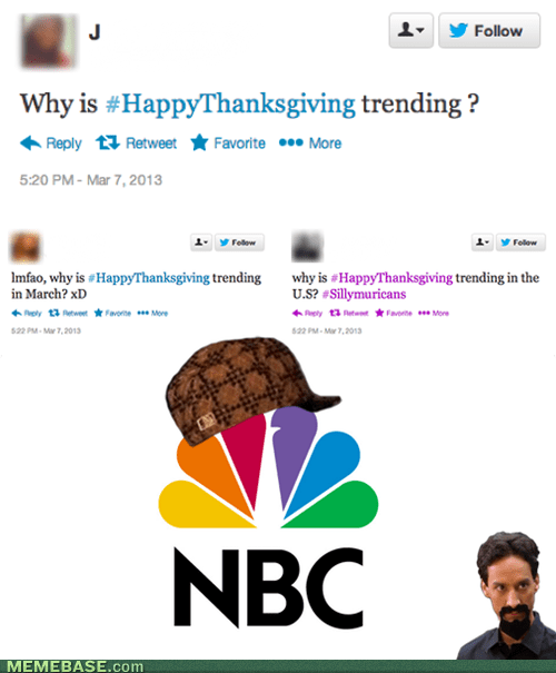 twitter thanksgiving scumbag hat NBC - 7121332224