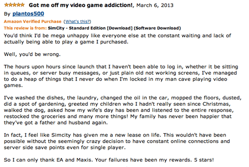 reviews,SimCity,amazon,EA