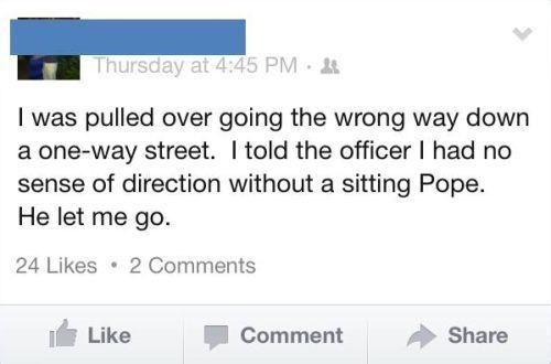 cops pope pulled over