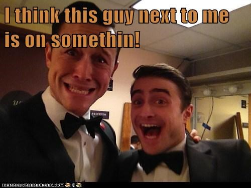 smiling Daniel Radcliffe high scared help Joseph Gordon-Levitt