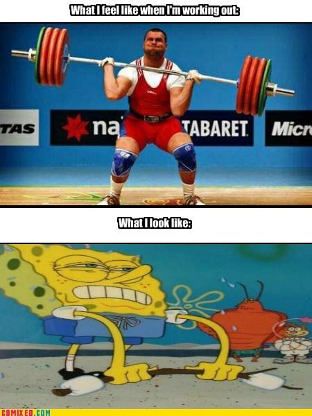 do you even lift SpongeBob SquarePants working out - 7122136832