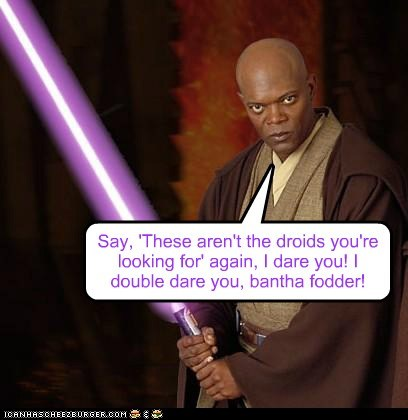 Mace Windu star wars bantha Samuel L Jackson pulp fiction not the droids