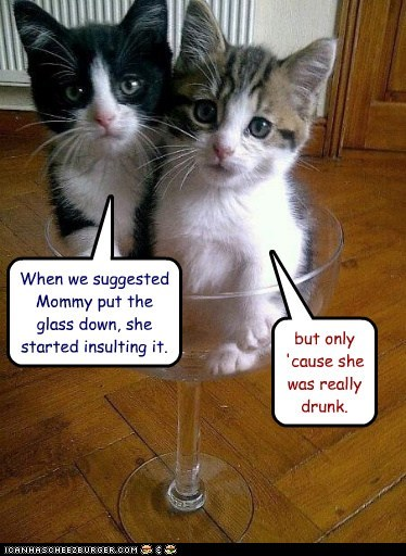 When we suggested Mommy put the glass down, she started insulting it. but only 'cause she was really drunk.