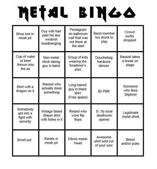 concerts,heavy metal,bingo