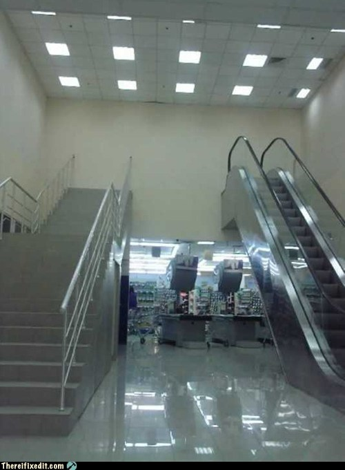 upper floor,stairway to nowhere,escalator,stairs,g rated,there I fixed it