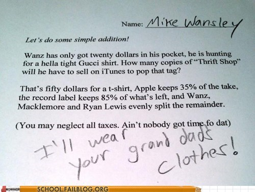 thrift shop,word problem,math,g rated,School of FAIL