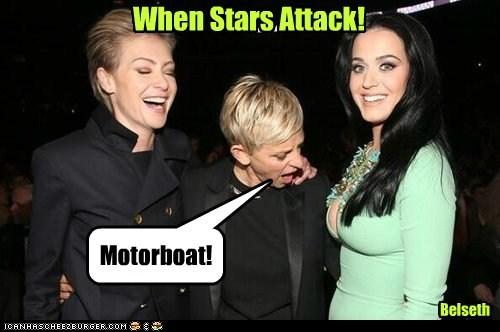 katy perry,Portia de Rossi,attack,motorboating,bewbs,stars,ellen degeneres