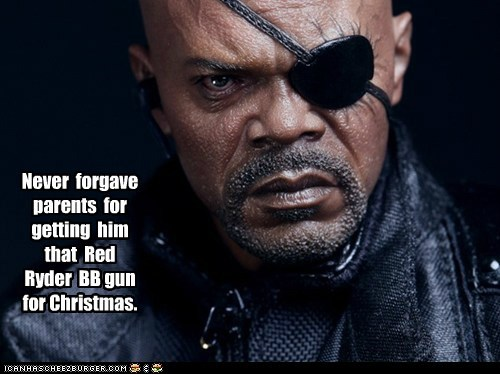Nick Fury,eye,The Avengers,Samuel L Jackson,A Christmas Story