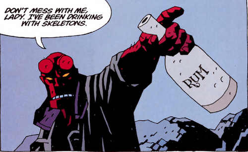 booze,mother,off the page,hellboy