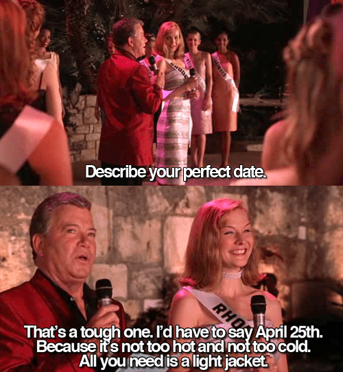 honest perfect date Miss Congeniality