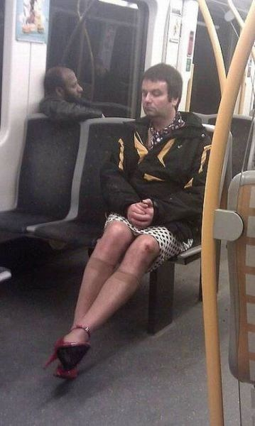 public transportation,stockings,cross dressers