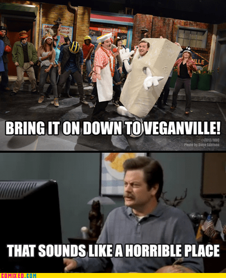 ron swanson parks and rec TV SNL vegan - 7130154752