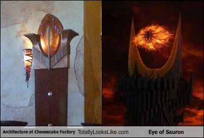 cheesecake factory,Lord of the Rings,decor,TLL,Eye of Sauron