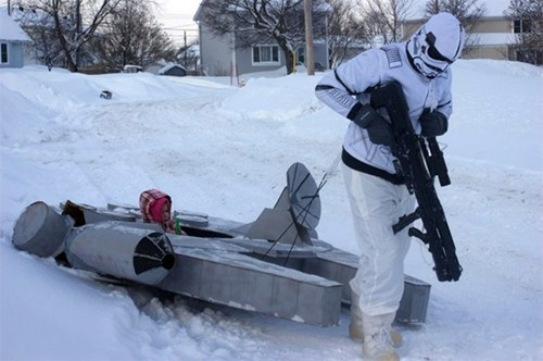 sled,nerdgasm,parenting,winter,millennium falcon,g rated,win