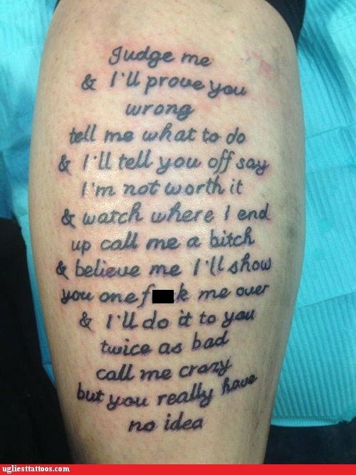 arm tattoos expressions text tattoos tldr - 7131488512