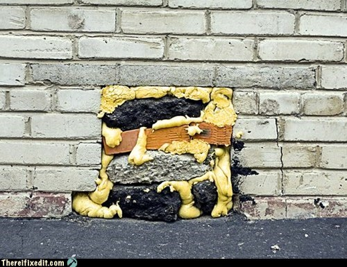 foam wall repair brick wall
