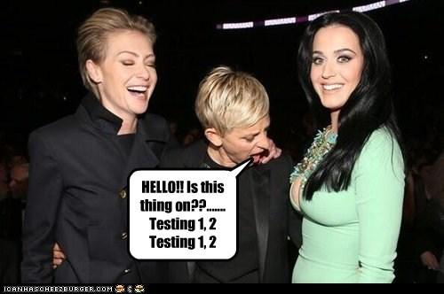 katy perry testing Portia de Rossi microphones ellen degeneres - 7132148736