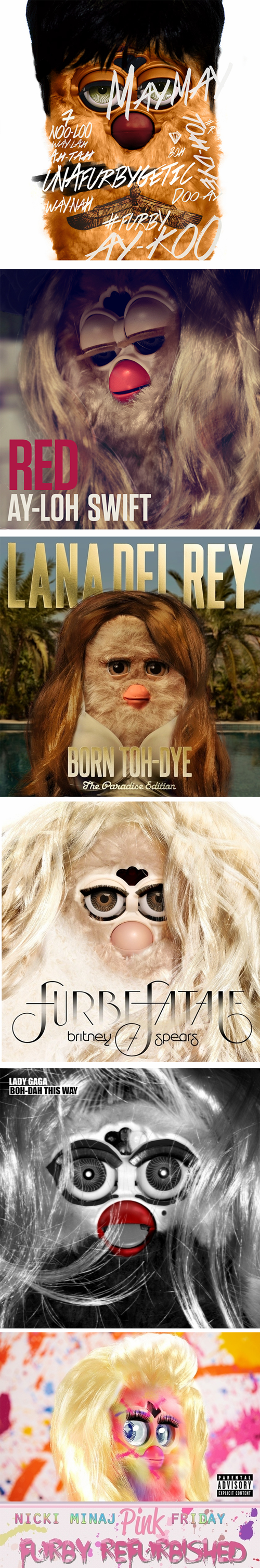 taylor swift lana del rey britney spears rihanna lady gaga furbies nicki minaj album covers - 7132621824
