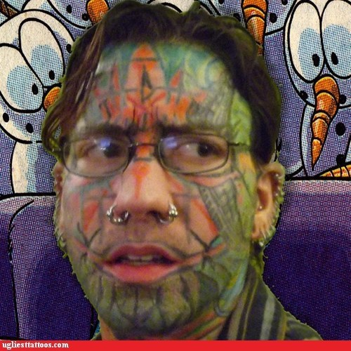 green,face tattoos,piercings