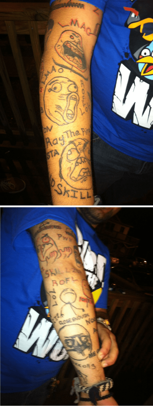 arm tattoos,rage faces,Memes,Rage Comics,Ugliest Tattoos