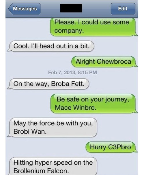 bros,star wars,text,sms