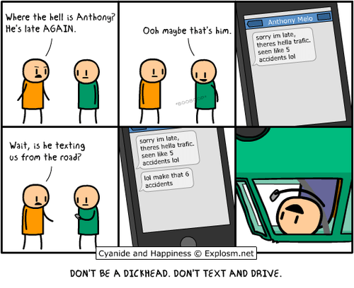 cyanide and happiness comics texting and driving that guy