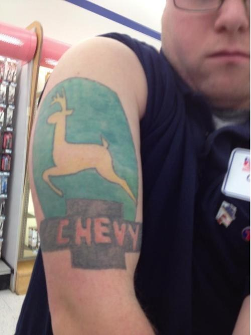 arm tattoos,logos,Chevy,John Deere