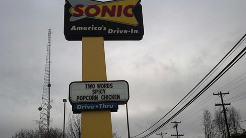 sign,genius,fast food