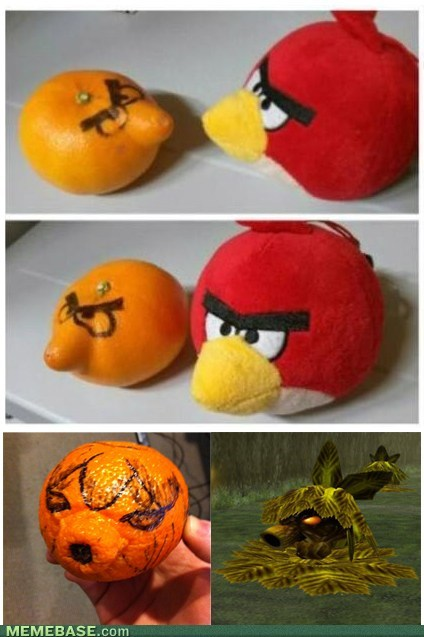 angry birds,legend of zelda,tangerines,oranges,citrus,re-frames
