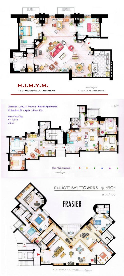 A New Perspective Of The Day Floor Plans From Famous Tv Shows The Daily What Daily Dose Of What