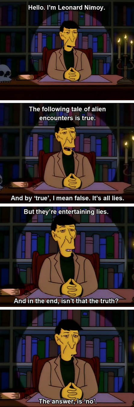 Aliens the history channel Leonard Nimoy the simpsons
