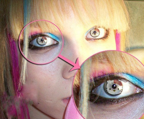 eyeballs,contact lenses,hello kitty