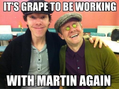 benedict cumberbatch,Martin Freeman,grapes,puns,Sherlock
