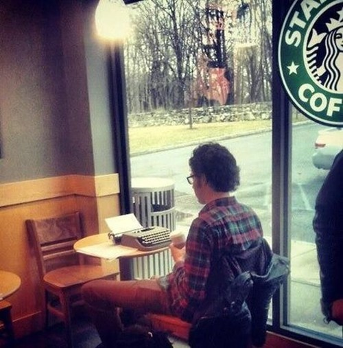 hipsters Starbucks typewriter