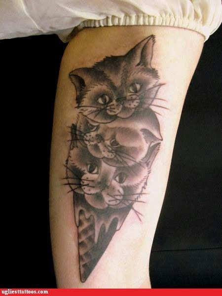 arm tattoos,ice cream cones,Cats,g rated,Ugliest Tattoos