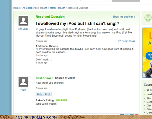 ipod singing yahoo answers - 7137159680