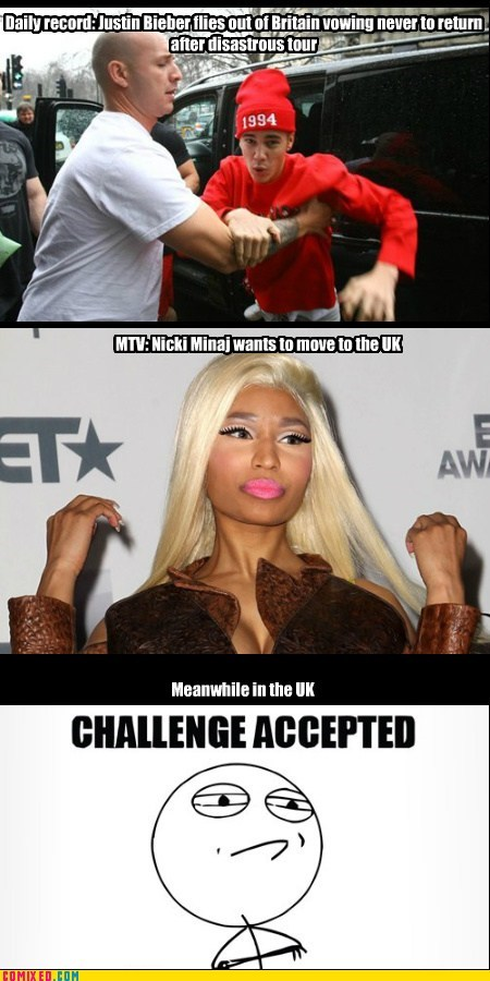 britain,justin beiber,Challenge Accepted,nicki minaj