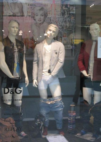 Mannequins,pants down,underwear