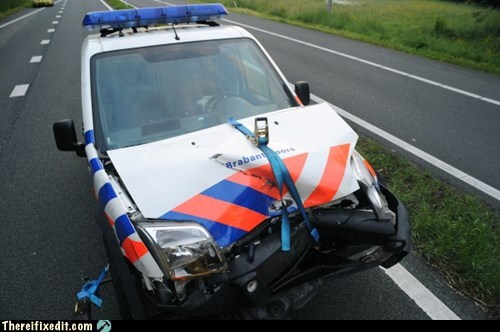 car fix,Netherlands,engine fix,police car