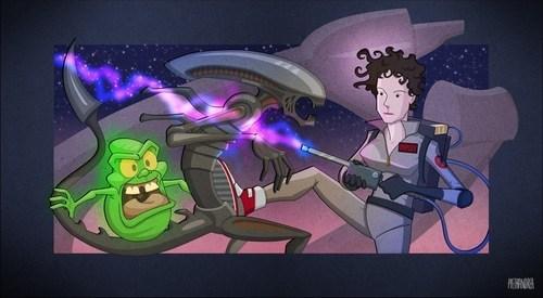 Aliens,Fan Art,Ghostbusters,sigourney weaver,slimer,xenomorphs