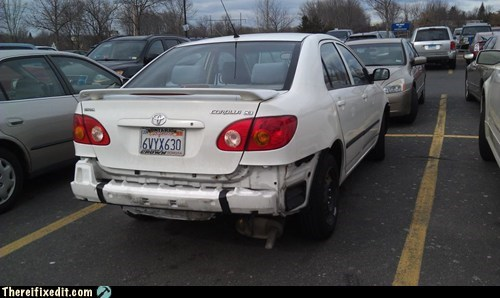 car bumper,styrofoam,Walmart,duct tape,g rated,there I fixed it