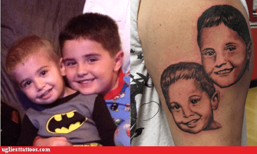arm tattoos,portrait tattoos,children