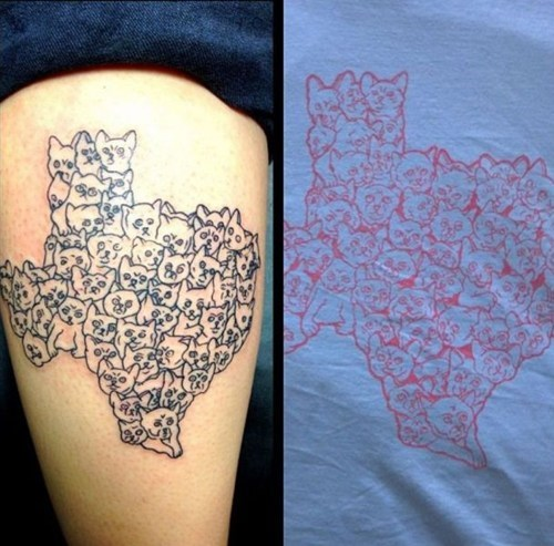 thigh tattoos,texas,Cats